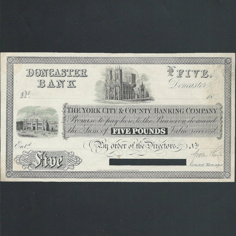 Provincial - Doncaster Bank £5 obverse proof (18xx) York City & County Banking Company, Outing 2456c, mount marks, EF