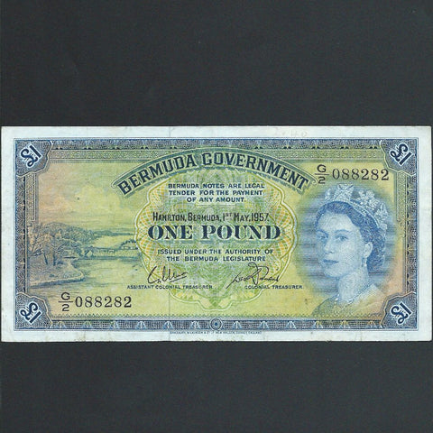 P.20c Bermuda £1 (01.05.1957) G/2 088282, solid thread, VF
