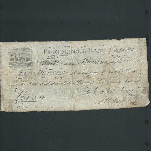 Provincial - Chelmsford Bank, Essex £10 (1825) for Crickitt & Company, Outing 482d, A/VF