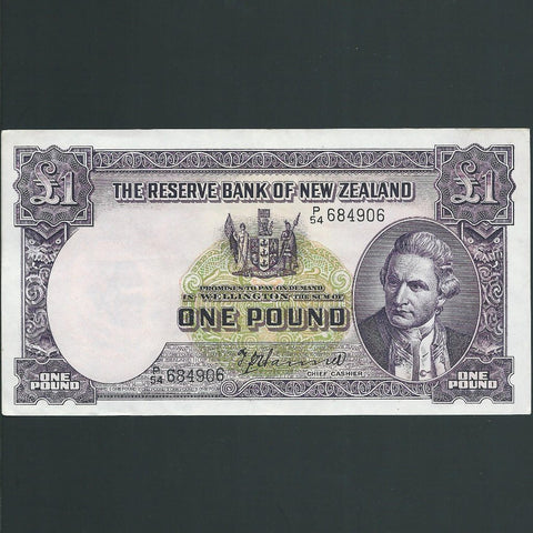 P.159a New Zealand £1 (1940-55) Hanna signature, P54 684906, EF