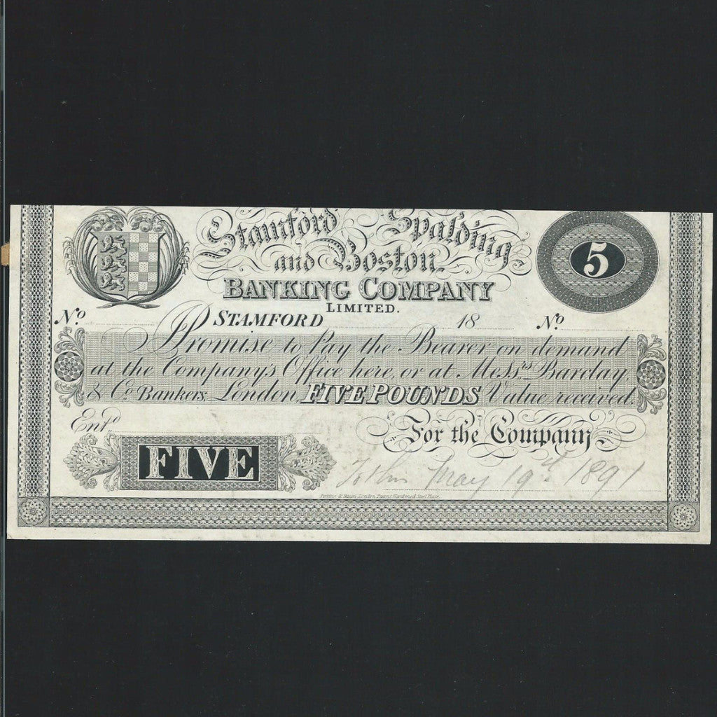 Provincial - Stamford & Spalding & Boston £5 (18xx) for Barclay & Co - Colin Narbeth & Son Ltd.