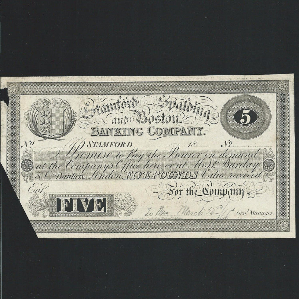 Provincial - Stamford & Spalding & Boston £5 (18xx) for Barclay & Co. Outing 2036, proof is unlisted, scarce as the issued note is common, cut, VG - Colin Narbeth & Son Ltd.