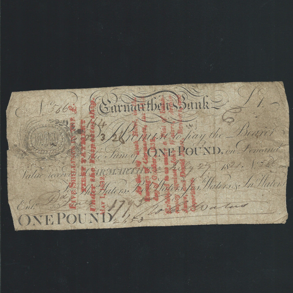 Provincial - Carmarthen Bank £1 (1821) for Tho Walters, Jos Walters & Jn Walters, Outing no listed (459 for bank) VF/ Fine