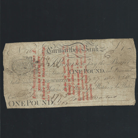 Provincial - Carmarthen Bank £1 (1821) for Tho Walters, Jos Walters & Jn Walters, Outing no listed (459 for bank) VG/ Fine