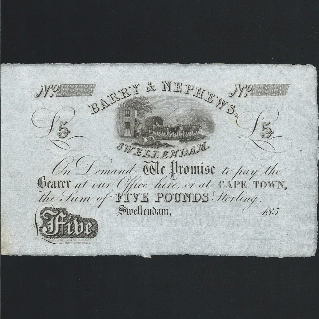 South Africa £5 (185x) Barry & Nephews, unissued PNL, UNC - Colin Narbeth & Son Ltd.