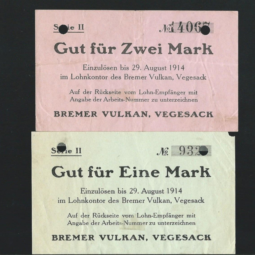 German notgeld 1/ 2 Mark (29.08.1914) Bremer Vulkan Vegesach (pair) Good VF - Colin Narbeth & Son Ltd.
