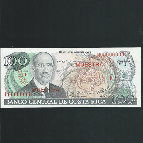 P.261s Costa Rica 100 Colones specimen (1993) UNC - Colin Narbeth & Son Ltd. - 1