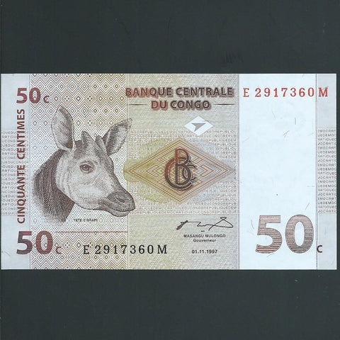 P.84a Congo Democratic Republic 50 Cents (01.11.1997) UNC