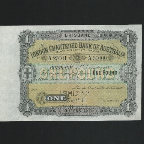 Australia £1 (1887) London Chartered Bank of Australia , Specimen Bradbury Wilkinson BRISBANE . VR 2d GDEF - Colin Narbeth & Son Ltd. - 1