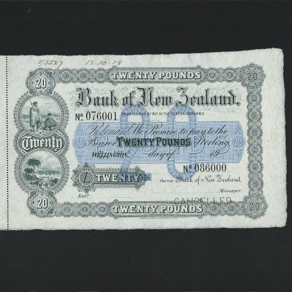 PS.194s New Zealand BONZ £20 (19XX) Wellington branch , Bradbury Wilkinson SPECIMEN GDEF - Colin Narbeth & Son Ltd. - 1