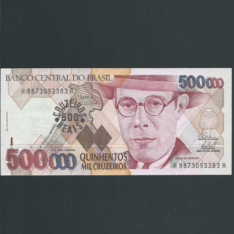 P.239a Brazil 500 Cruzeiros Reais ovpt on 500,000 Cruzeiros (1993) UNC - Colin Narbeth & Son Ltd. - 1