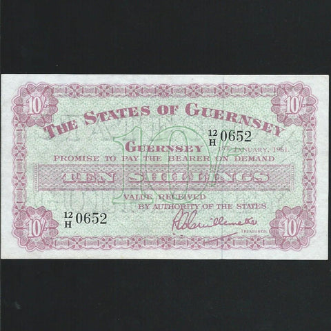 P.42b Guernsey 10/- (01.01.1961) 12/H 0652, pressed Good VF