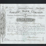 Adelphi Bank Limited £20 Share (1880s) - Colin Narbeth & Son Ltd. - 1
