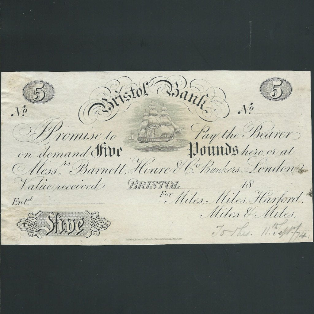 Provincial - Bristol Bank £5 obverse proof (18xx) for Miles, Harford. Outing 305k, Perkins, Bacon & Co., scarce, mount marks, VF