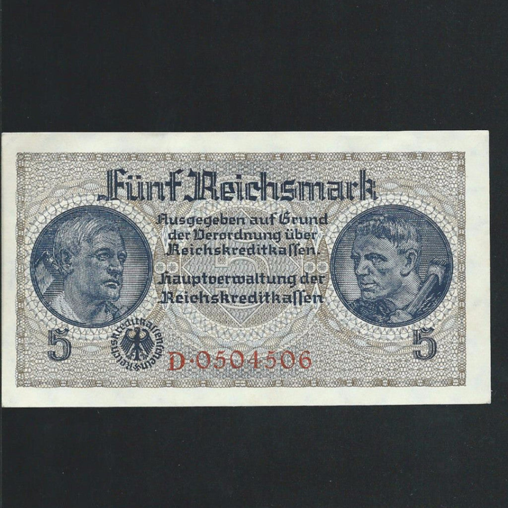 P.138a Germany Nazi  5 Reichsmark (1939-45)  used in Occupied Territories 7 digits, UNC - Colin Narbeth & Son Ltd. - 1
