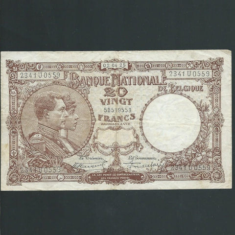 P.94 Belgium 20 Francs (02.04.1925) 2341U, Good Fine