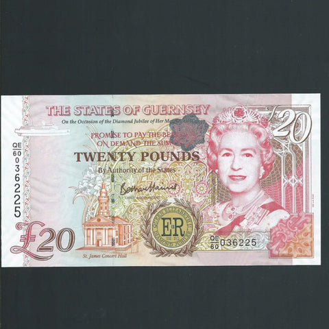 P.61 Guernsey £20 Diamond Jubilee, QEII, UNC - Colin Narbeth & Son Ltd.
