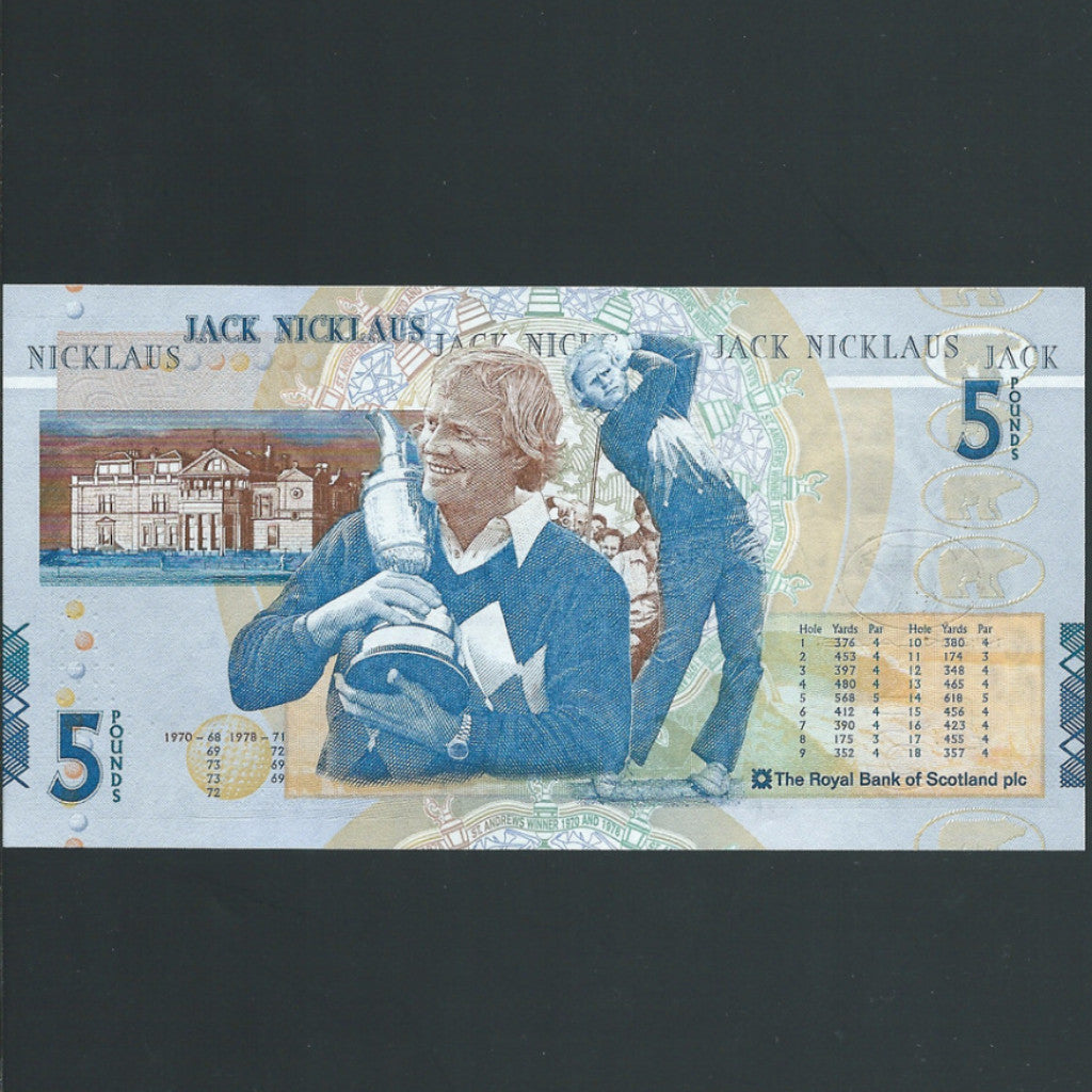 Scotland £5 Jack Nicklaus commemorative, Royal Bank of Scotland, UNC - Colin Narbeth & Son Ltd. - 1