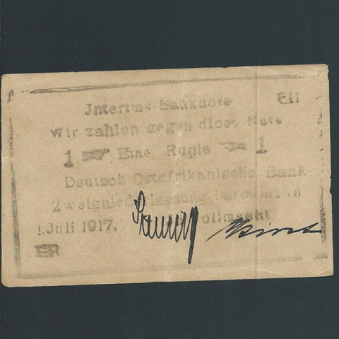 P.22c German East Africa 1 Rupien (01.07.1917) BUSH note, Stelling/ Kirst signatures, Ros.963a, A/EF - Colin Narbeth & Son Ltd. - 3