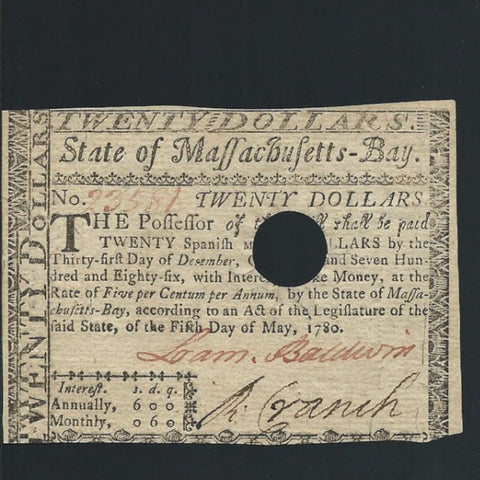 PS.1343 US Colonial $20 (05.05.1780) note no.23581, hole cancelled, Good EF - Colin Narbeth & Son Ltd.