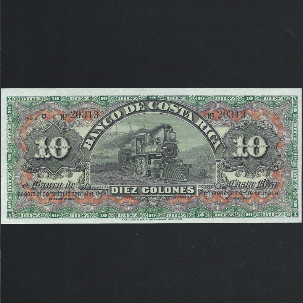 PS.174r Costa Rica 10 Peso (1901) unissued, UNC - Colin Narbeth & Son Ltd. - 1