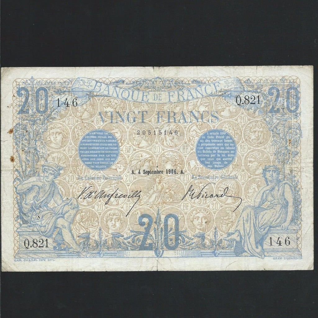 P. 68a France 20 Francs (04.06.1906) pinholes, Fine - Colin Narbeth & Son Ltd. - 1