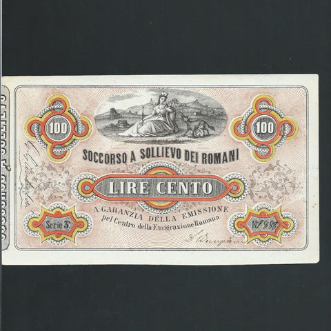 Italy 100 Lire (1867) Garibaldi Fund raising note, hand signed by Garibaldi at left, some pinholes otherwise GDEF - Colin Narbeth & Son Ltd.