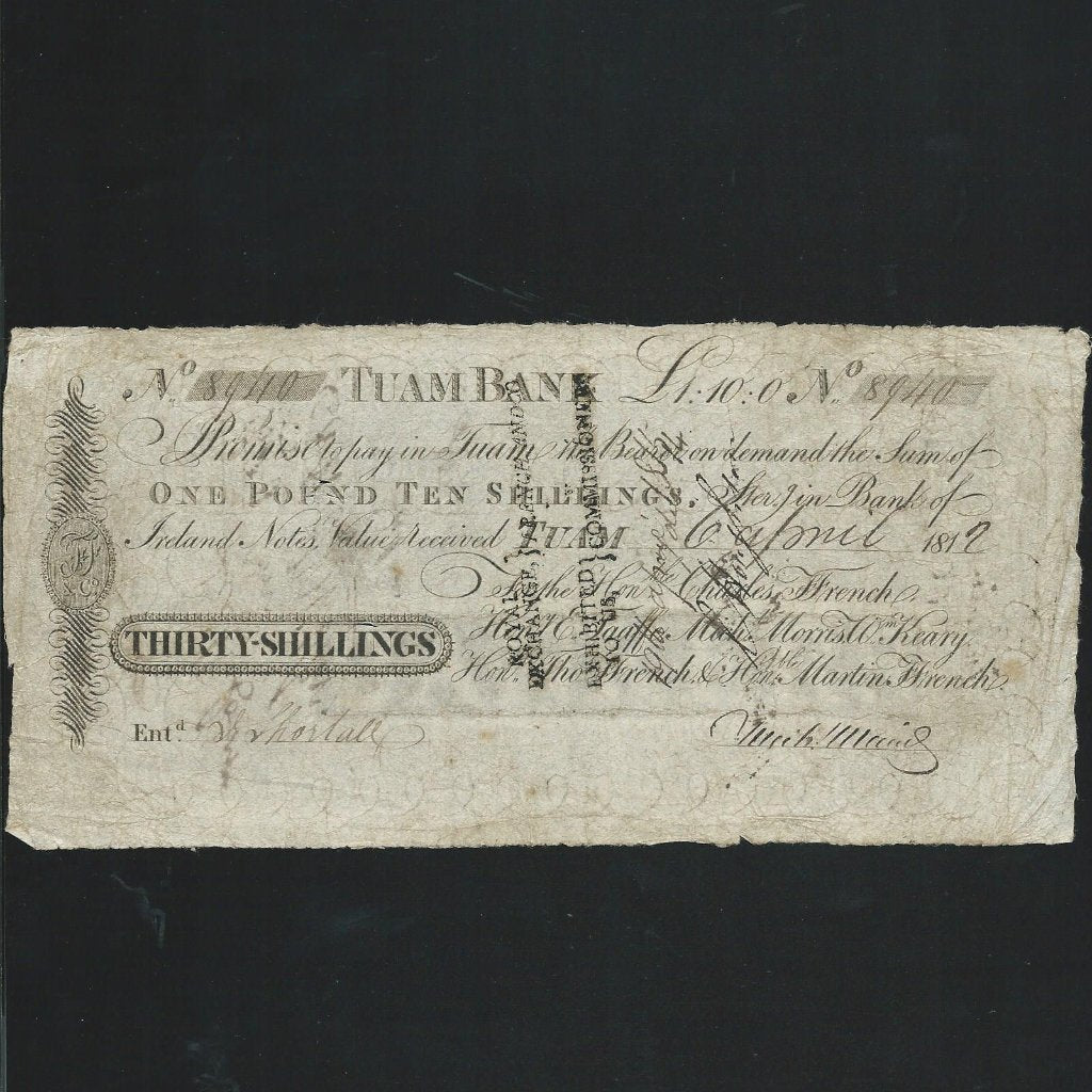 Ireland 30/- (1812) Taum Bank, for Ffrench etc., PB332C, VG