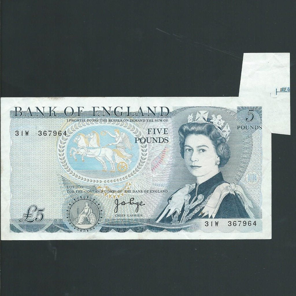 B.334 Page £5 error, shark fin, 31W, tiny mark, otherwise VF
