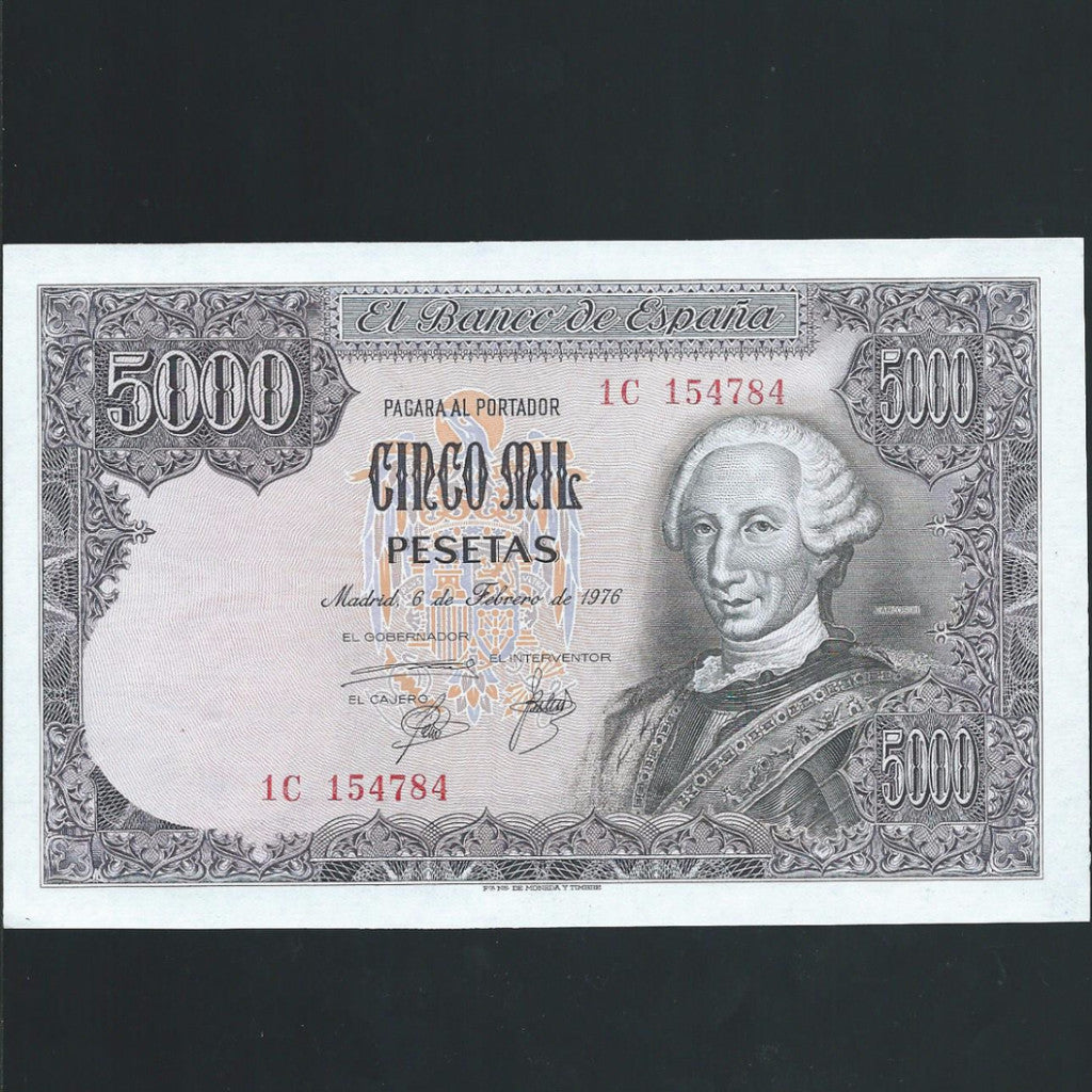 P.155 Spain 5000 Pesetas , print smudge on reverse (1976) GDEF - Colin Narbeth & Son Ltd.