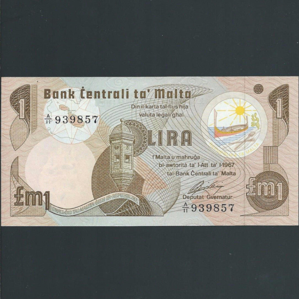 P.34b Malta 1 Lira with dot, UNC - Colin Narbeth & Son Ltd.