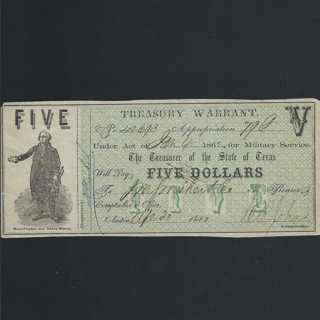 P.S3422 Texas $5 military warrant (1862) military note, Good VF - Colin Narbeth & Son Ltd.