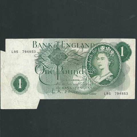 B.281 O'Brien £1 error, shark fin, L95, some handling marks, otherwise Fine