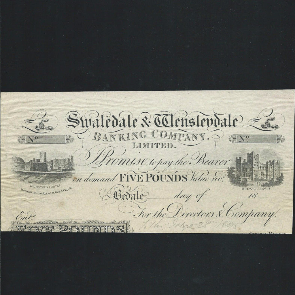 Provincial - Swaledale & Wensleydale £5 proof (18xx) Bedale branch, Outing 115c for type, cut, VF - Colin Narbeth & Son Ltd. - 1