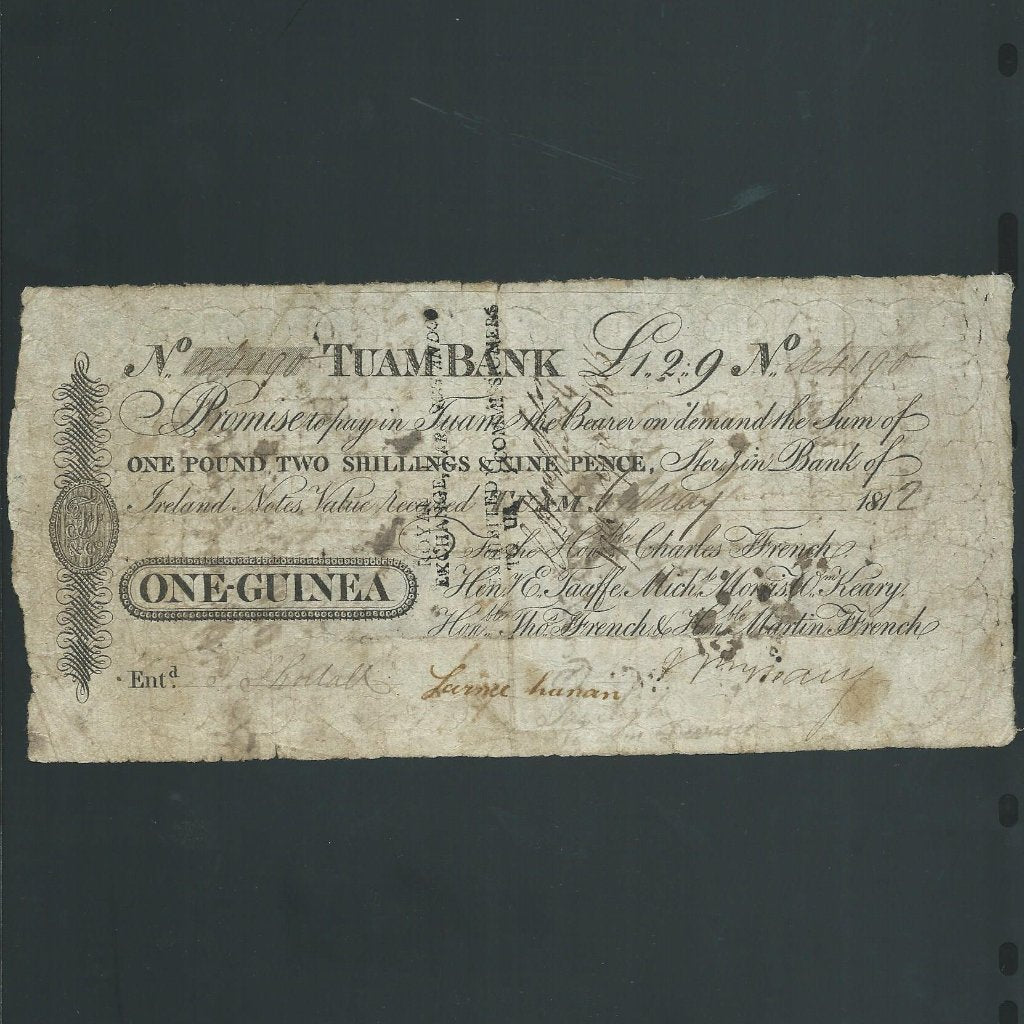 Ireland 1 Guinea (1812) Taum Bank, for Ffrench etc., PB332C, VG