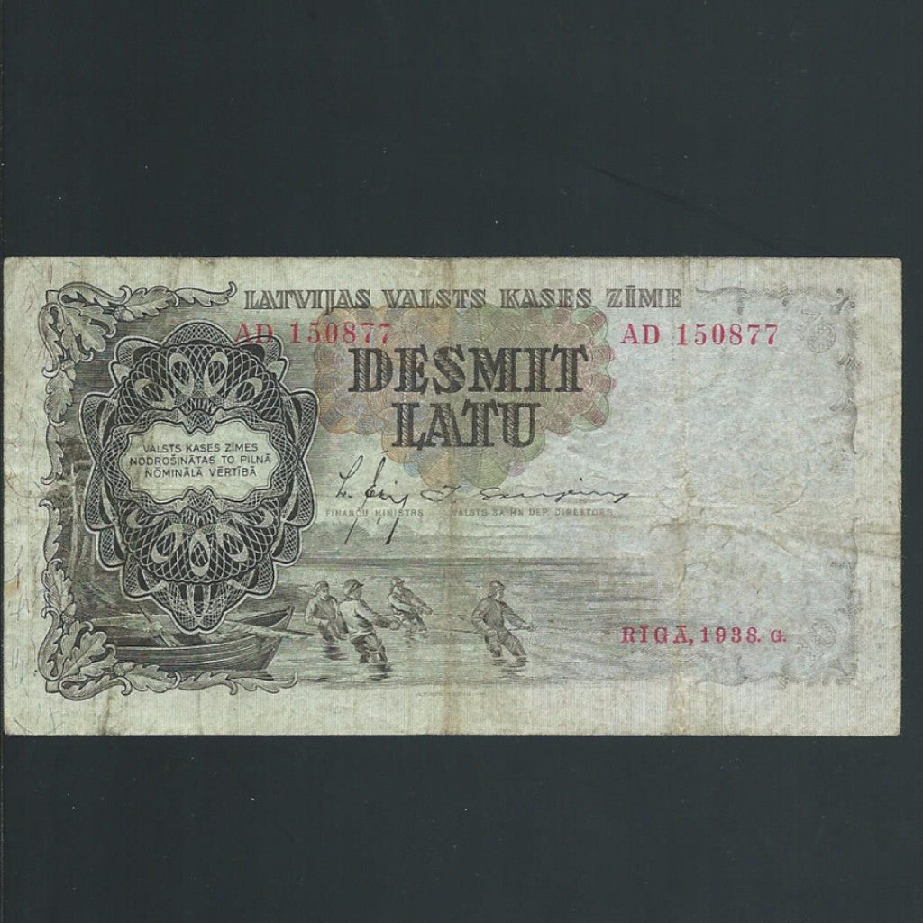 P.29b Latvia 10 Latu (1938) Fine - Colin Narbeth & Son Ltd.