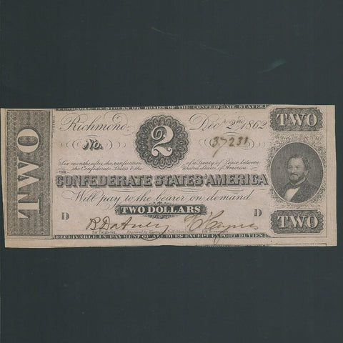 P.58a Confederate States $2 (1862) Clay, 1st series, pink paper, no.37231, Good EF