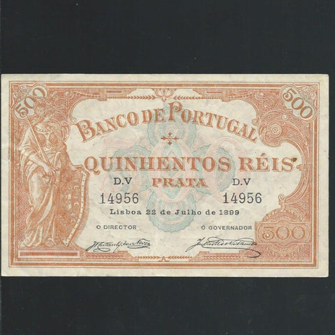 P. 72 Portugal 500 Reis (1899) Marques de Varelha-Castanheira Das Neves signatures, rust mark, Good VF - Colin Narbeth & Son Ltd. - 1