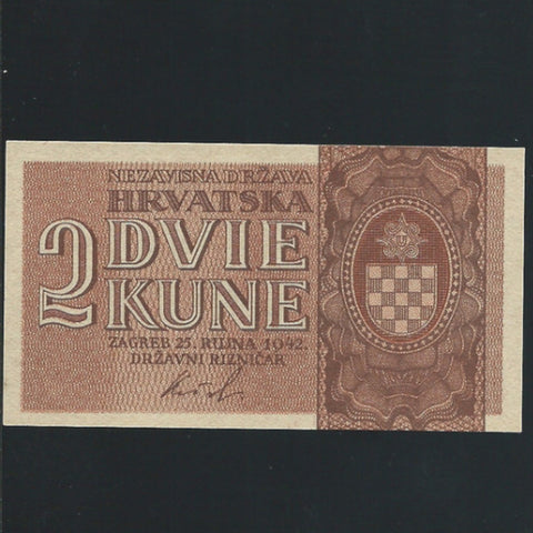 P. 8a Croatioa 2 Kuna (25.09.1942) single prefix letter, UNC