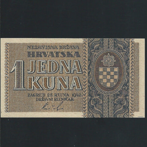 P. 7a Croatia 1 Kuna (25.09.1942) single prefix letter, UNC