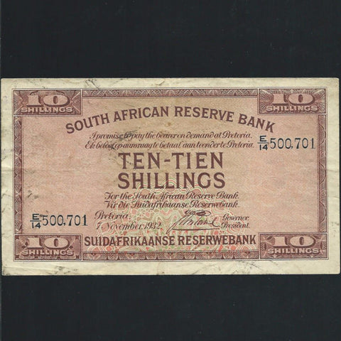 P.82d South Africa 10/- (07.11.1932) J. Postmus signature, VG - Colin Narbeth & Son Ltd. - 1
