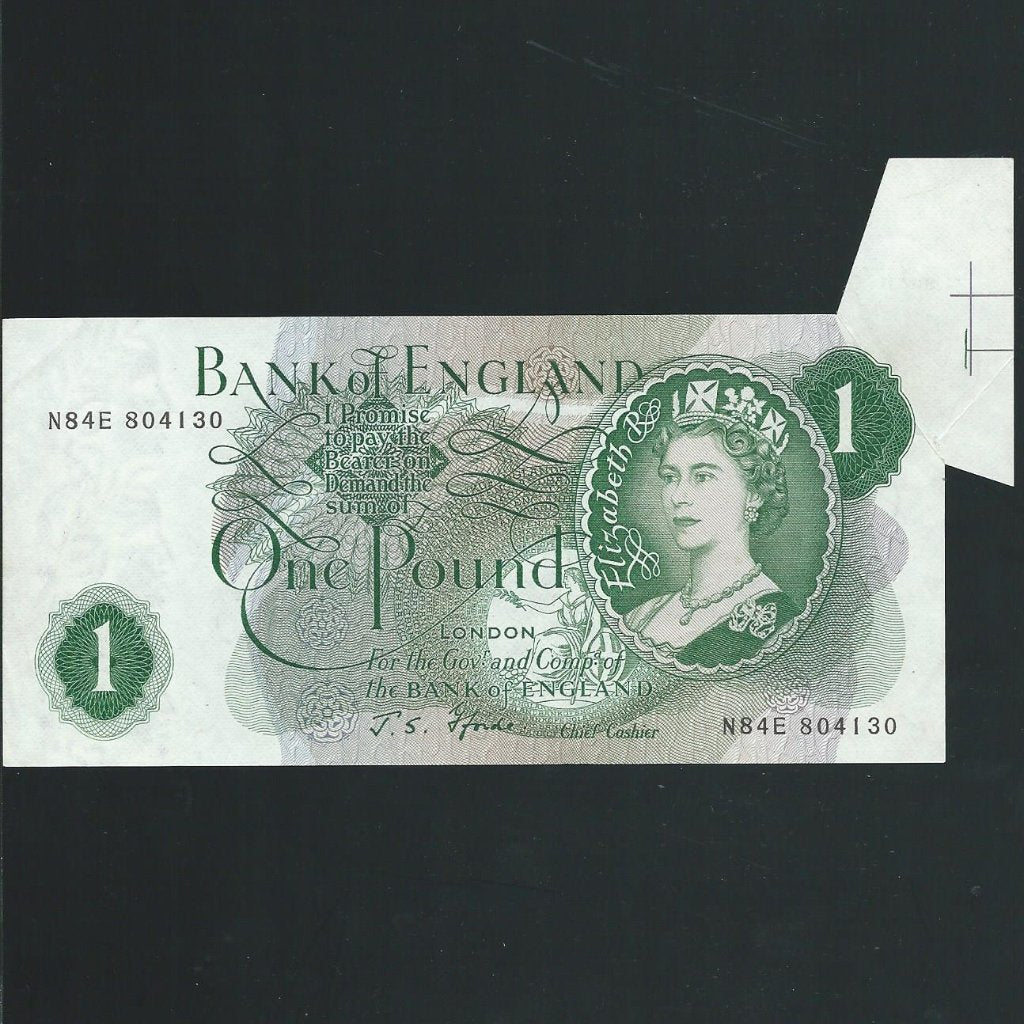 B305 Fforde £1 error, shark fin, N84E with IC/BB 74 part of sheet register on reverse, EF