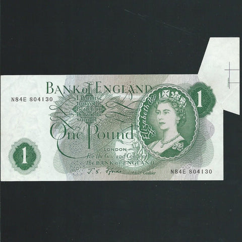 B.305 Fforde £1 error, shark fin, N84E with IC/BB 74 part of sheet register on reverse, EF