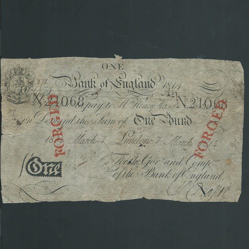 Hase £1 contempory forgery (1814) stamped by the Bank of England
