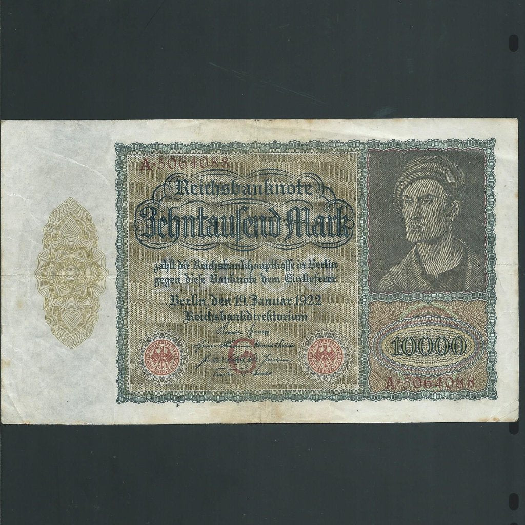 Germany 10000 Marks (1922) hidden vampire,  this is the large note that measures 210mm wide . Fine