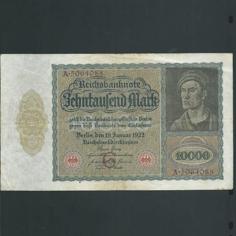 Germany 10000 Marks (1922) hidden vampire, Fine