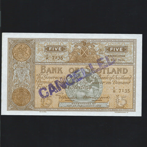 P. 92c type BA102a Scotland Bank of Scotland £5 (04.05.1944) Elphinstone/Crawford 6/R 7135 Experimental Specimen GDEF