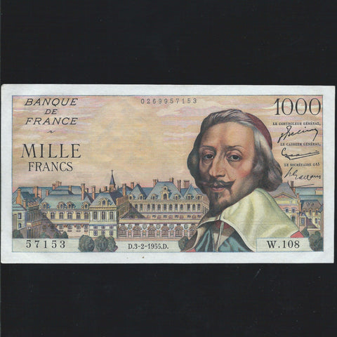 P.134a France 1000 Francs (1955) Good VF/ About EF