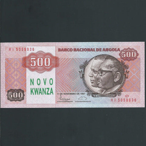 P.123 Angola 500 Novo Kwanza overprint, UNC - Colin Narbeth & Son Ltd. - 1