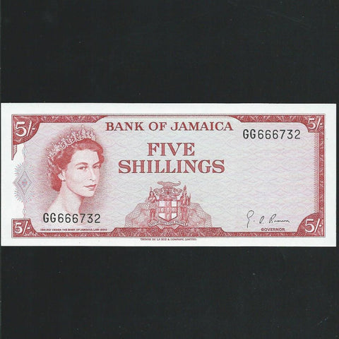 P.51Ad Jamaica 5/-, QEII, Brown signature, Good EF